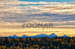 Evening light in the Alberta foothills and the Rocky Mountains in Autumn