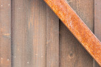 Wooden Wall with Rusty Metal Beam Background