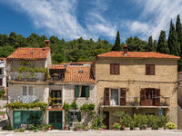 Rustic homes in Croatian town of Novigrad in Istria County