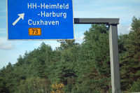 highway sign  hamburg-heimfeld, harburg, cuxhaven, b 73