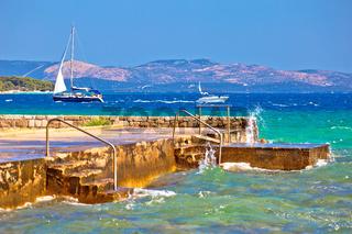 Sibenik bay entrance idyllic sailing destination view