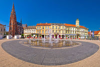Osijek main square and cathedral panoramic view