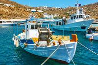 Fishing boats in port of Mykonos