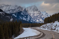 A cold winter day along highway 40 in Peter Lougheed Provincial Park, Kananaskis, Canadian Rocky Mountains, Alberta