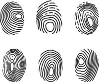 Fingerprint icon set. Police scanner thumb, identity person security. Finger technology biometric Authorization. Vector illustration