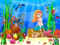 Little Mermaid among the inhabitants of the underwater world 1