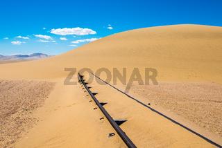 Railway tracks after sand storm, Namibia