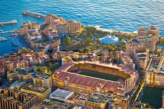 Fontvieille colorful waterfront and AS Monaco stadium aerial view