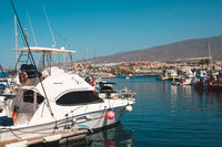 Many motor  boats, sailboats and yachts harbour in Tenerife