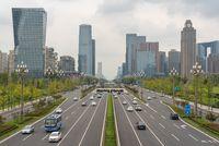 Traffic on Tianfu avenue in Chengdu