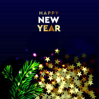 Happy New Year Modern background. Xmas sparkling gold star with pine branch. Christmas posters, greeting cards, headers, website. Objects viewed from above. Vector illustration.