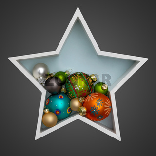 Christmas decoration white star with some glass balls inside