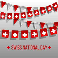 Swiss national day background with hanging flags