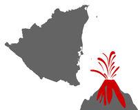 Karte von Nicaragua mit Vulkan - Map of Nicaragua with volcano