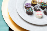 Artisan Fine Chocolate Candy On Serving Dish