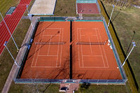 Bird's eye view of a tennis court