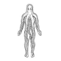 Alien Octopus Inside Human Body Drawing Black and White
