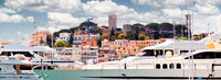 Cropped view of Le Suquet- the old town and Port Le Vieux of Cannes, France