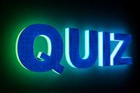 word quiz with neon light