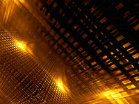 Abstract golden glowing grid - digitally generated image 3d illustration