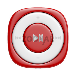 Small red music player, front view