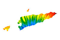 East Timor - map is designed rainbow abstract colorful pattern, Democratic Republic of Timor-Leste map made of color explosion,
