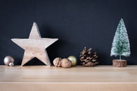 Christmas decoration glass balls with wooden star and fir tree