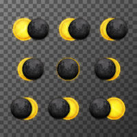 Nine eclipse stages with realistic satellite moon and star sun on transparent background