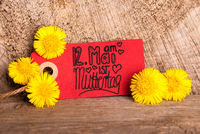 Red Label, Dandelion, Calligraphy Muttertag Means Happy Mothers Day