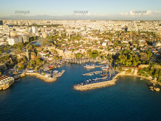 Aerial Kaleici Harbor Mountains Cityscape Antalya