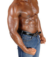The close up torso of a black man bodybuilder