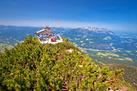 Eagle's Nest or Kehlsteinhaus hideout on the rock above Alpine landscape