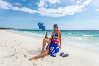 True Blue Fair Dinkum Australian girl laid back on the beach