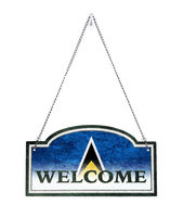 Saint Lucia welcomes you! Old metal sign isolated
