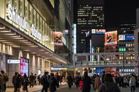TOKYO, JAPAN - 16 FEB 2018: Tourists and locals walking at the entrance of Shinjuku JR Station at night