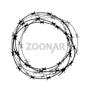 Barbed Wire Circle Isolated on White Backgground. Stylized Prison Concept. Symbol of Not Freedom. Metal Frame Circle