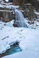 Krimml waterfall in Pinzgau, Austria in winter
