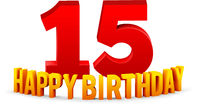 Congratulations on the 15th anniversary, happy birthday with rounded 3d text and shadow isolated on white background. Vector