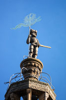 statue at the top of the Kilian Church in Heilbronn Germany
