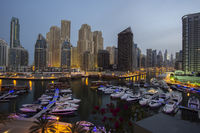 Evening view at the fashionable district Dubai Marina