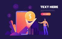 Mobile banking concept. Flat stylish icon design. Vector Illustration.