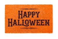 Happy Halloween Orange Welcome Mat Isolated on White Background