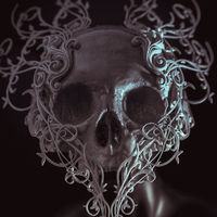 Danger, white skull printed with 3d printer, it takes forms of decoration Baroque style and florituras in the form of flowers