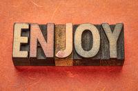 enjoy word in wood type