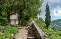 Step path to castle above Old Town of Kotor in Montenegro