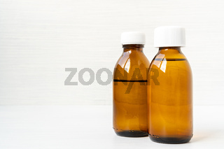 Medicine bottles of brown glass