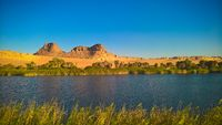 Panoramic view to Boukkou lake group of Ounianga Serir lakes at the Ennedi, Chad