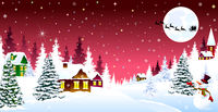 Christmas winter night over a snow-covered village
