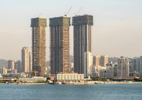 New construction in the city of Xiamen from the sea