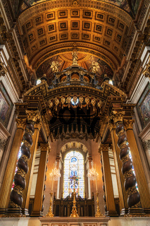 London, United Kingdom - May 12, 2019: Inside St Paul's Cathedral in London, interior building details. It is an Anglican cathedral, the seat of the Bishop of London and the mother church of the Diocese of London.